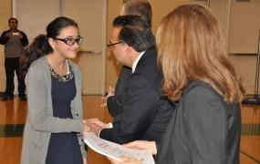 Councilman Sareini congratulating our students